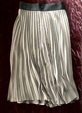 Ladies Pleated Skirt Grey Size 8 Small Waist Mid Length