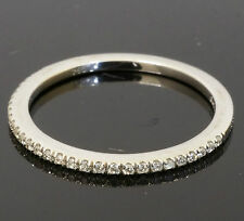 18ct White Gold Pave Set Diamond (0.12ct) Eternity Court Band (Size O) 1mm Width
