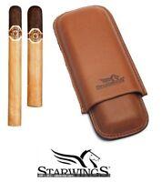 Starwings: étui à cigare double en en cuir marron (M) télescopique