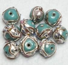 BBB644 8 INDIAN LAMPWORK GLASS BEADS 15 x 15mm DISC CREAM//MULTI