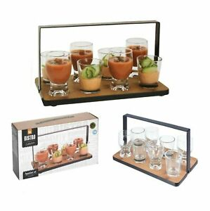 9 Pieces Appetizer Glass Set Mini Dish Shot Cups Snack Tapas With Bamboo Tray