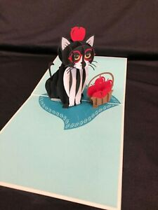 Mother's Day Cat with Apple 3D Pop Up Card Animal Pet Love Birthday Anniversary