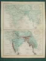 1893 India Imperio Mapa ~ Regular Lluvia Durante Mojado Y Seco Temporada Tibet