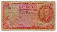 BRITISH CARIBBEAN TERR.1951 KING GEORGE VI 1 DOLLAR BANKNOTE SCARCE.PICK#1.