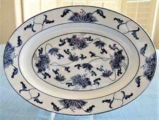 Royal Tatung Porcelain OVAL PLATTER #0517 Cobalt Blue on White