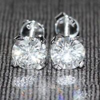 Certified 2.00 Ct Round Cut Forever One Moissanite Stud Earrings 14K White Gold