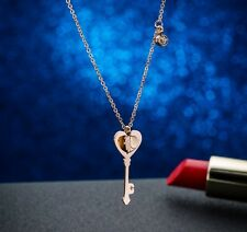 14K Rose Gold Stainless Steel Love Heart Key Pendant Chain Necklace Gift Box PE6