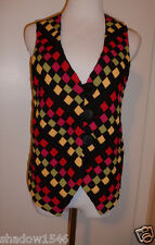 Jan Micole Black Red Yellow Gray Checkered Vest Button Front Top Sz M EUC