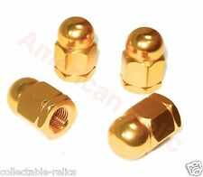 4X Dome Alloy Wheel Nuts Gold Old Vintage School BMX Track Bike Bicycle 3/8 Pr