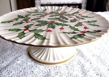 Lenox Cake Pedestal Plate or Stand Holly & Berry Pattern Used USA