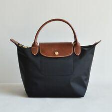 a08ca5a084 Auth Longchamp SMALL BLACK Le Pliage Nylon Short Leather Handle Bag
