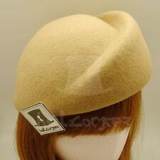 VINTAGE Wool Felt Women Beret Pillbox Hat Groove Stewardess PARTY   57cm   Beige