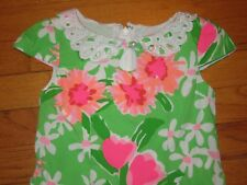 HTF Lilly Pulitzer Green Pink Floral Pearl Button Eyelet Keyhole Dress Size 4