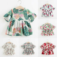 Toddler Kids Baby Girls Dress Floral Print Flare Sleeve Princess Dress Outfit US