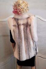 Cross Mink Fox Real Fur Reversible Leather Vest Coat Jacket White Wedding OSFM