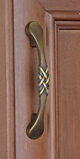 "83063-AB - 3"" CC  Round Braided Cabinet Hardware Pull Handle - Antique Brass"