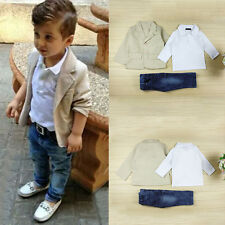 Holiday Kids Boy Tops Shirt Blazer Gentleman Coat Pants Jeans Outfit Set Clothes