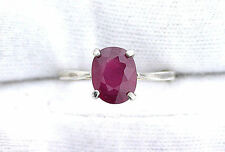 2.68 Carat Oval Natural Oval Ruby Gemstone Ladies Sterling Silver Ring Size 5.5
