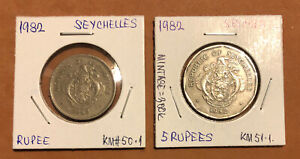 SEYCHELLES- Set of 6:1948-1982- 2,25 Cents 1, 5 rupees Collectible coins-KM#6,11
