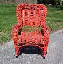 Vintage Heywood style Child's Wicker Rocking Chair Red Rocker
