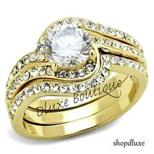 Plated Stainless Steel Women'S Wedding Ring Set 2.95 Ct Round Cut Cz 14K Gold