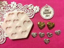 Hearts with design silicone mold fondant cake decorating cupcakes food FDA