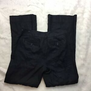 Ann Taylor Loft Womens 8 Black 100% Linen Julie Work Dress Slacks Pants A15