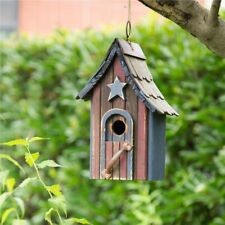 """Glitzhome 11.42"""" Hanging USA Patriotic Wood Garden Single Roof Bird House Cage"""
