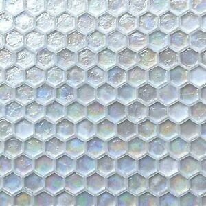 """1"""" Hexagon Iridescent Clear White Glass Mosaic Tile for wall and pool waterline"""