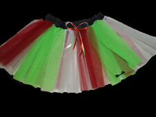 Red Green White Stripe Tutu Skirt Bow Ribbon Dance Party Tulle Christmas Tree