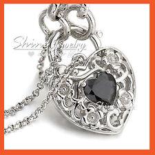 18K WHITE GOLD GF BLACK CRYSTAL HEART PADLOCK BELCHER RING CHAIN BANGLE BRACELET