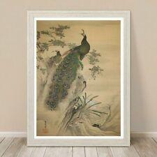 """Beautiful Japanese Nature Art ~ CANVAS PRINT 8x10"""" ~ Peacocks Vintage"""