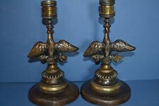 Pair Antique 19th Century Brass and Patinated Bronze Eagle Candlesticks,c 1890