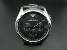 New Old Stock EMPORIO ARMANI AR1700 Chronograph Leather Strap Quartz Men Watch