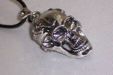 LARGE SILVER PLATED SCREAMING SKULL PENDANT NECKLACE MOVING MOUTH LEATHER CORD