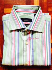 ♥ #R063 - Mint Andrew Vibrant Mixed Colours Stripes Long Sleeves Shirt L 16