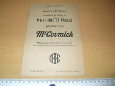 McCORMICK   No. 8 T TRACTOR TRAILER MOWER Instructions + repair parts #8T