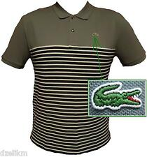 NWT Lacoste Short Sleeve Stripe Trim Fit Two-button placket Pique Polo Sz XS(3)