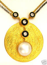 24K Solid Gold, Genuine Diamond & Mabe Pearl Necklace