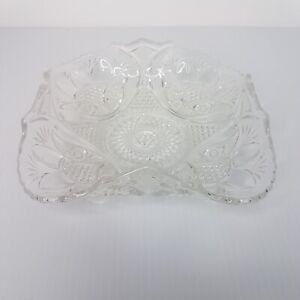 Vintage Cut Glass Fluted Bowl Dish Diamond Star Burst Scalloped Edge 1950s