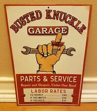BUSTED KNUCKLE GARAGE DECOR wrench tools mancave garage mechanic red white parts