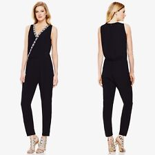 Vince Camuto Embroidered Jumpsuit XL X-Large Black Sleeveless 100% Rayon V-Neck