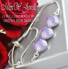 925 Silver Bracelet Crystals From Swarovski® SQUARE FANCY STONE Lilac 3 x 10mm