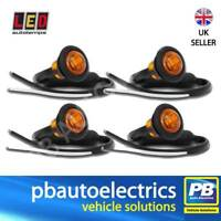 4x LED Autolamps 181AME Trailer Round Side Marker Lights / Lamps AMBER 12/24v