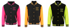 Plain or Personalised Neon Varsity Jacket -  Printed Baseball College Letterman