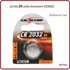 Lot de 20 piles boutons CR2032 lithium Ansmann, livraison rapide et gratuite