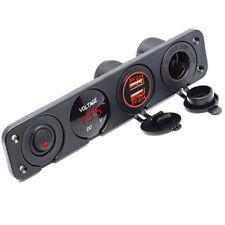 2.1A LED Voltmeter 12V Outlet Panel Switch Base Dual USB Car Charger Voltmeter
