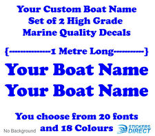 Custom Boat Name Decals Set of 2 1000mm Long Marine Grade Vinyl Boat Runabout