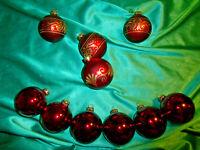 10 alte Christbaumkugeln Glas rot gold Vintage große Weihnachtskugeln Tannenbaum