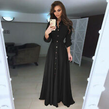 Women's High Waist Casual Tunic Dress Sexy Solid Color Long Sleeve Maxi Dress